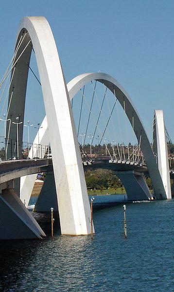 Ponte Juscelino Kubitschek (aka JK Bridge), over Lake Paranoá, Brasília, Brazil (2002) https://en.wikipedia.org/wiki/Juscelino_Kubitschek_bridge