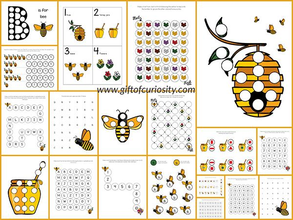 Free Bee Do-a-Dot Printables: 20 pages of bee dot worksheets for kids ages 2-6. The graphics in this pack are so cute!    Gift of Curiosity