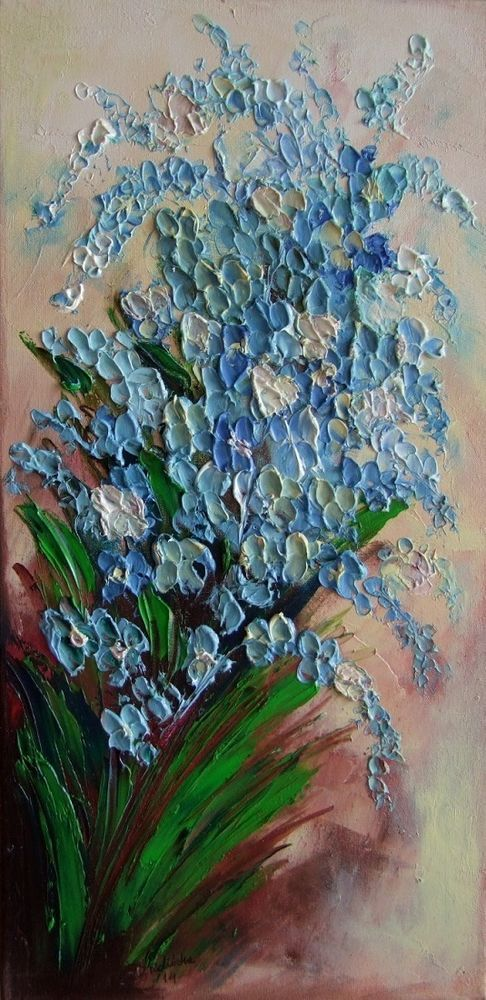 Forget Me Not Flowers IMPASTO Original Oil Painting Impression Europe Artist #ImpressionismImpasto