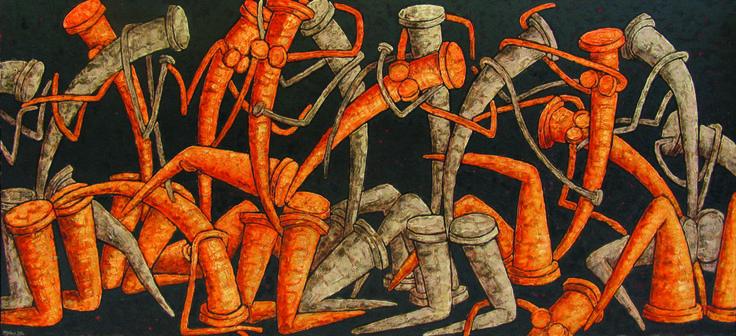 ФРИЗ ПЯТНАДЦАТИ ФИГУР - Картина ©2004 - DMITRIY TRUBIN -                                                                                    Сюрреализм, Холст, Абстрактное искусство, Люди, Люди, ФРИЗ ПЯТНАДЦАТИ ФИГУР, трубин, гвозди, живопись, сюрреализм, художник, гвоздь