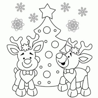 Reindeer Coloring Page - Free Christmas Recipes, Coloring Pages for Kids & Santa Letters - Free-N-Fun Christmas