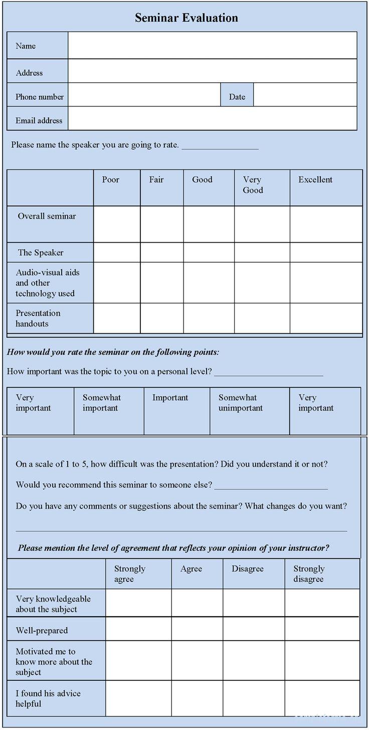 Seminar Evaluation Form
