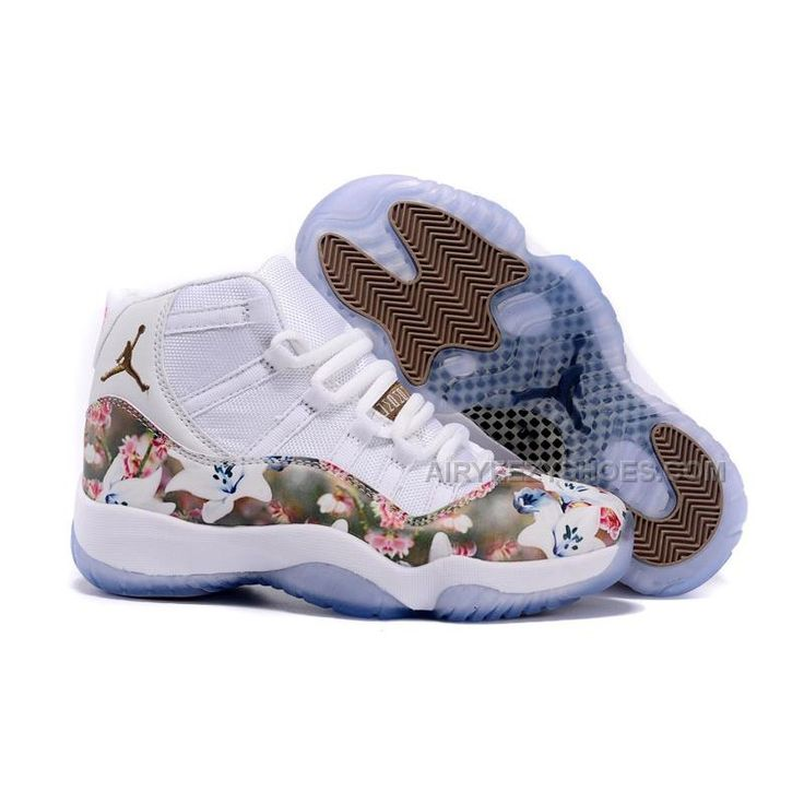 """2015 Women Air Jordan 11 GS """"Floral Flower"""" White Brown Shoes, Price: $92.00 - Air Yeezy Shoes - AirYeezyShoes.com"""