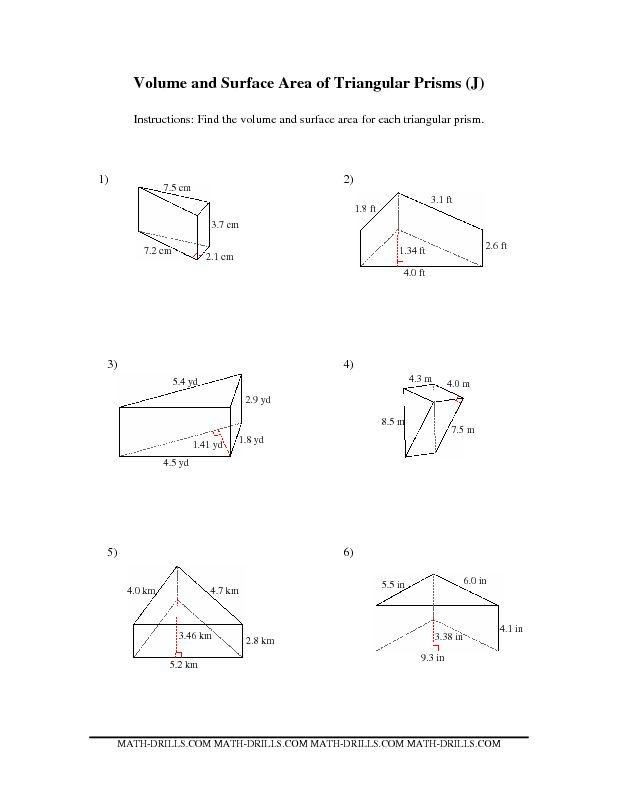 volume of trapezoidal prism worksheet surface area of a triangular prism worksheets school. Black Bedroom Furniture Sets. Home Design Ideas