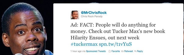 """To drum up some publicity for his new book, Tucker Max turned to Sponsored Tweets, a service that allows advertisers to pay powerful Twitter users to run promotions for them. He custom wrote Tweets for some top Twitter celebs and sent in his requests in to their people. Here's one he wrote for Audrina Partridge, """"If Tucker Max's new book, Hilarity Ensues, has taught me anything, it'll be the first time I learned. Anything. Ever."""" The parties receiving these requests were not happy and the…"""