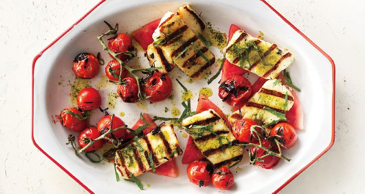 Grilled Halloumi with Watermelon and Basil-Mint Oil - Bon Appétit
