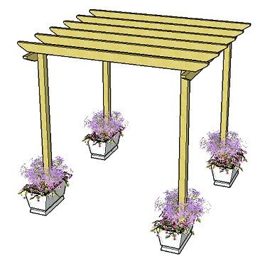 Copyright image: A simple pergola design with unnotched rafters and plain rafter tail ends.