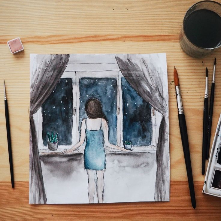 Some nights are longer than the others. Watercolor painting.