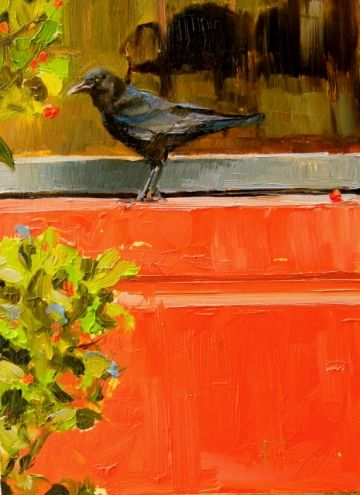 Window Shopper oil, crow painting by Robin Weiss, painting by artist Robin Weiss