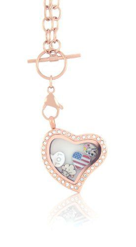 Stainless Steel Floating Locket Necklace with 6 Charms and Matching Chain (Rose Gold Toggle Heart) by BGF247 * Check out this great product.