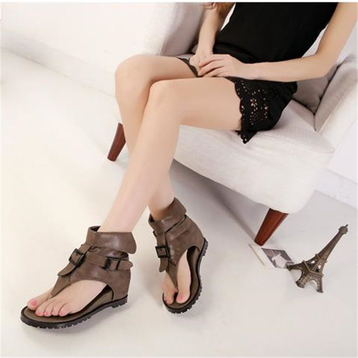 >> Click to Buy << Summer comfortable flat sandals buckle high flip-flop herringbone women's wedges shoes vintage black leather shoes  #Affiliate