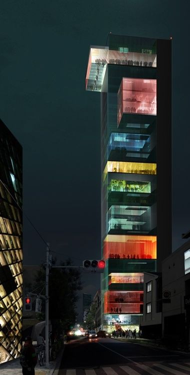 Rainbow building! Vertical Omotesando, the Wai Think Tank. MUST GO HERE AND THINK.