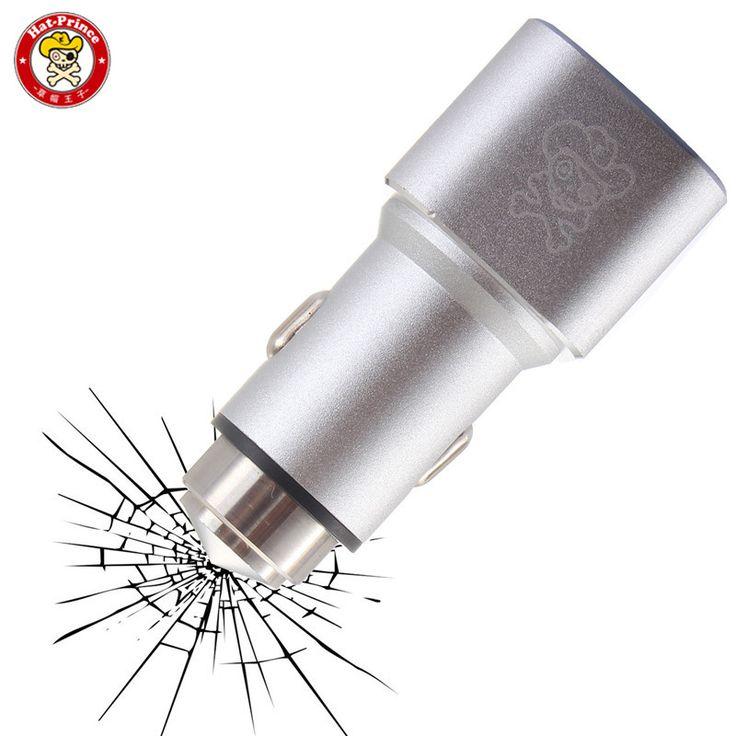 Шляпа-Принц E1 Smart Mini Портативный Алюминиевый Легированной Стали Dual USB Телефона Автомобильное Зарядное Устройство Безопасно Молоток Зарядные Устройства Для Мобильных телефон