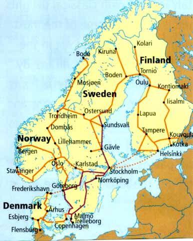 Scandinavia Railroad Map: Norway, Finland, Sweden, Denmark
