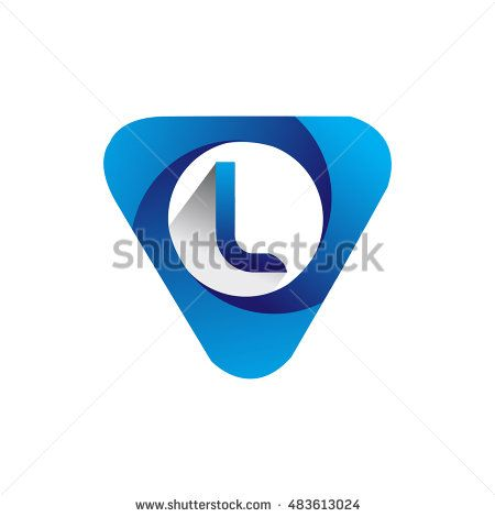 Logo letter L blue colored in the triangle shape, Vector design template…