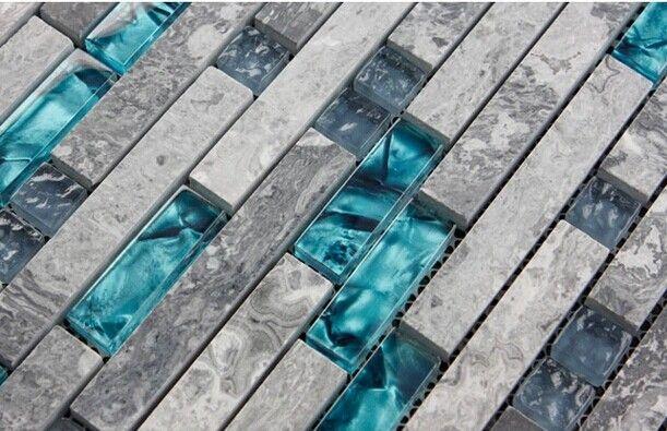 Grey Stone with Crystal Glass Mosaic Tile Backsplash Wall Interlocking Washroom Bedroom Kitchen 9805