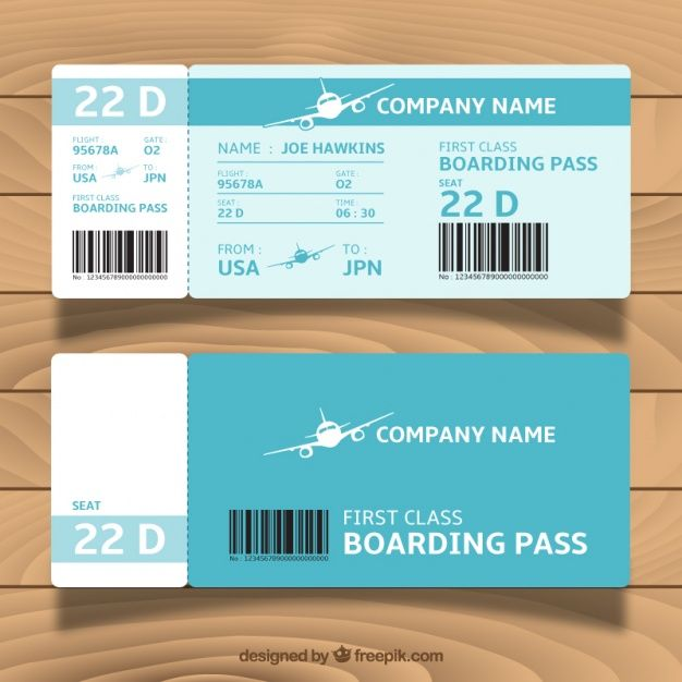 Great Blue Boarding Pass Template Boarding Pass Template Ticket Template Free Surprise Vacation