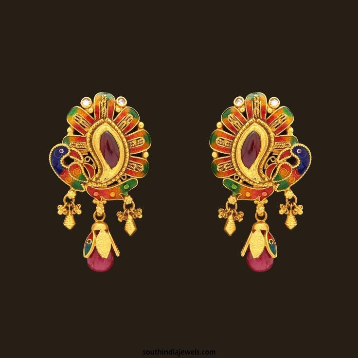 22K Gold Designer Ear Studs from PNG Adgil Jewellers | Studs ...
