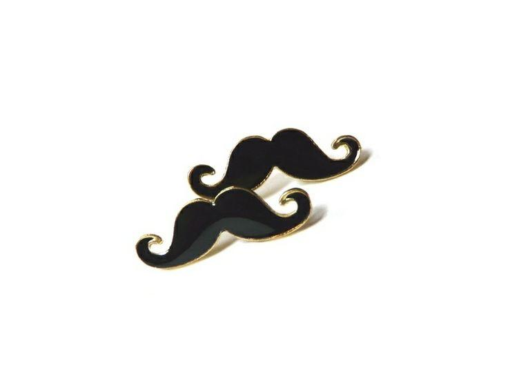Ohrstecker Mr. Mustache schwarz-gold Schnurrbart von Silwarin auf DaWanda.com