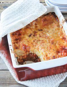 Pasta al horno con salsa de queso y boloñesa