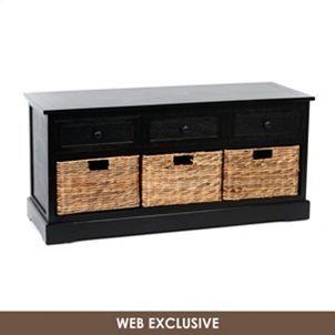 Black Storage Bench with Baskets | Kirkland's