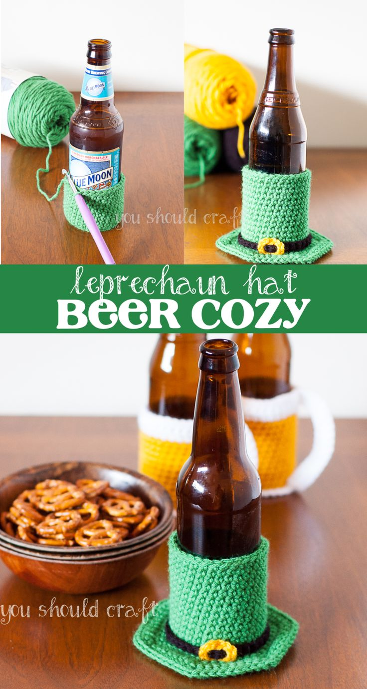 Celebrate St. Patrick's Day and crochet the world's cutest beer cozy -- a leprechaun's hat! Free Pattern via @YouShouldCraft