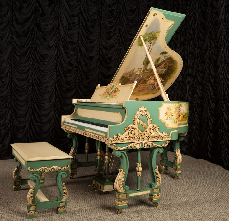 ivory baby grand piano | ... Baroque Style Apartment Size Baby Grand Piano | The Antique Piano Shop