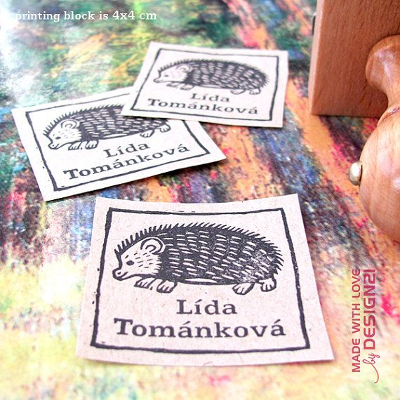 Hedgehog: personalised rubber stamp 4x4 cm by lida21 on Etsy
