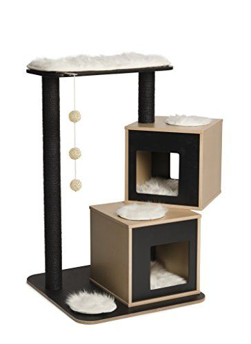 Elegant yet practical line of cat furniture that satisfies the daily activity needs of fussy felines Cube cave; Powder-coated, classy silver metallic steel tube frame Easy installation- 2 screws only