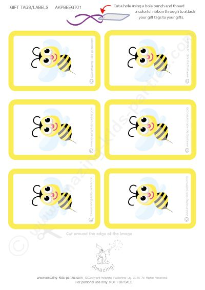 FREE Bee Birthday Gift Tags and Cards from amazing-kids-parties.com