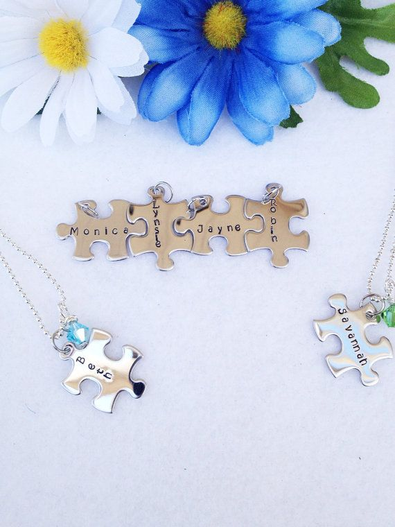 Personalized Puzzle Pieces and Crystal Necklaces With Names, Dates, or Special Word for Friends Sisters & Bridemaids on Etsy, $16.00