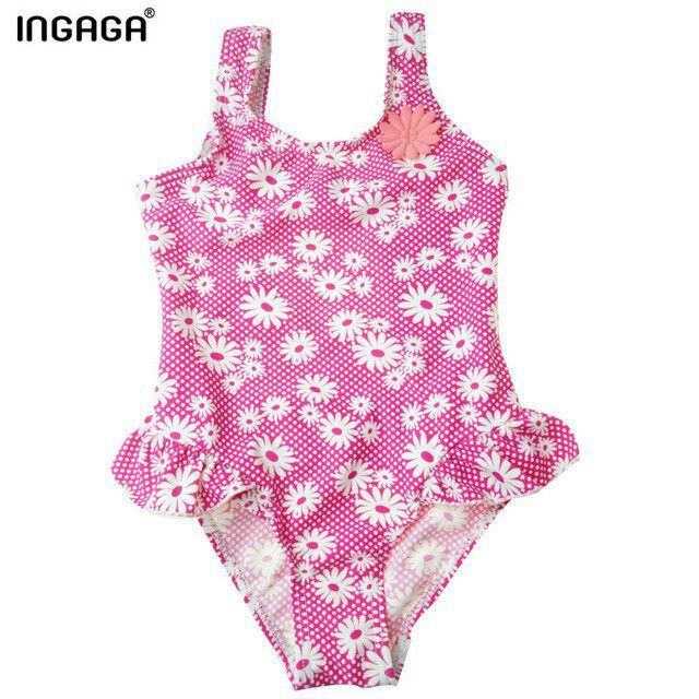Designers Little Girl Swimsuits Printed Ruffle One Piece Suits Swimwear
