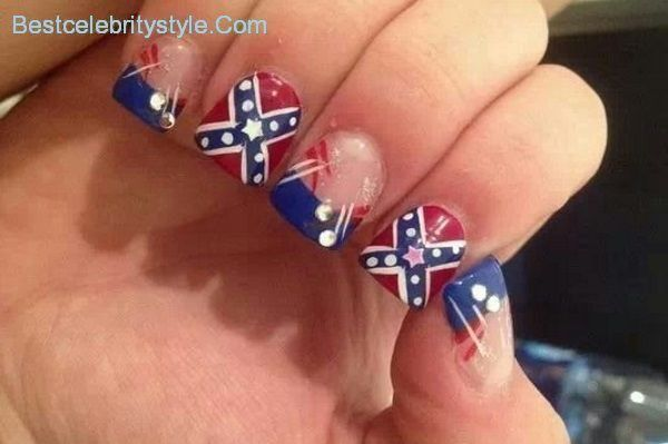 12 Southern Pride Rebel Flag Nails-6 - Best Celebrity Style