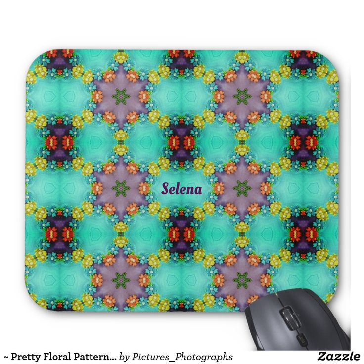 ~ Pretty Floral Pattern ~ Personalised SELENA ~ Mouse Pad
