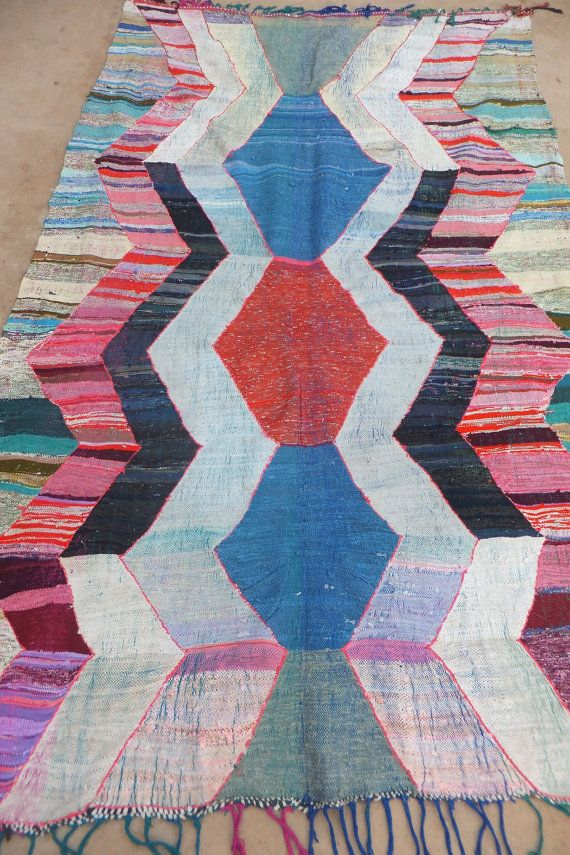 Vintage Moroccan Hanbal Boucherouite Rug Berber Tribal Contemporary Modern Wall Art Painting Tapestry Tribal  5'8  x  8 FT 11 on Etsy, $505.76