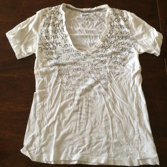 "Ladies Van's t-shirt Ladies Vans T-Shirt. White V Neck. The word ""Vans"" written in cursive on the front. Vans Tops Tees - Short Sleeve"
