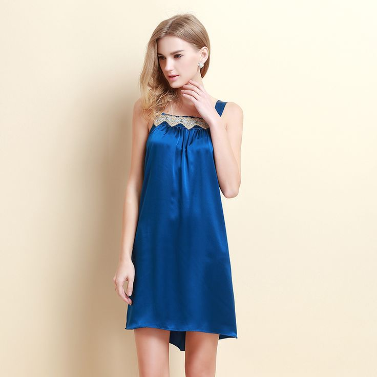 2015 new lace straps Seoul Arts Pure silk nightgown 100% silk sleeveless silk pajamas nightgown female USD$55.53