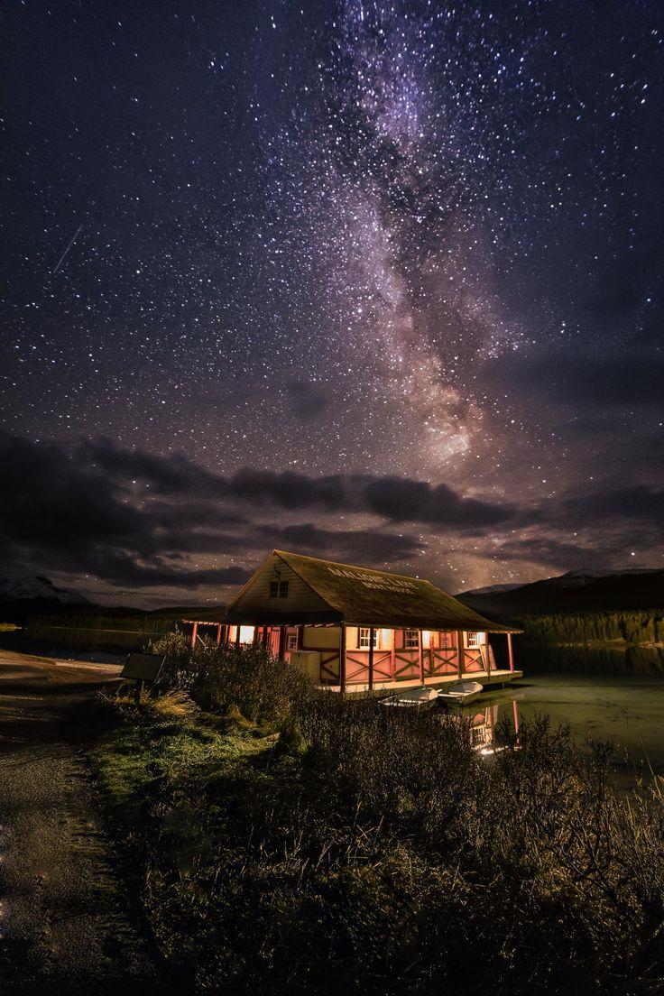 Maligne Lake JASPER NATIONAL PARK CANADA Night