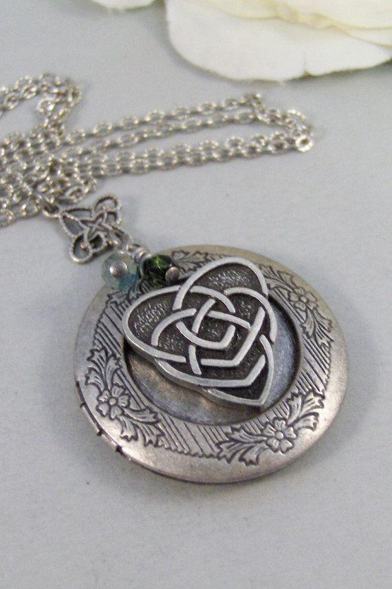 Mothers Heart,Locket,Silver Locket,Celtic Locket,Mothers Knot,Birthstone,Antique Locket,Celtic Knot,Irish,Shamrock. jewelry valleygirldesign