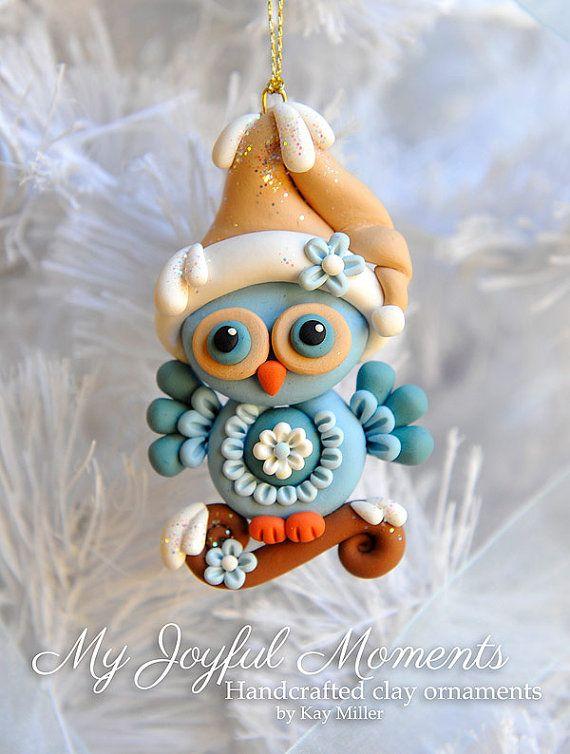 Handcrafted Polymer Clay Owl Ornament di MyJoyfulMoments su Etsy