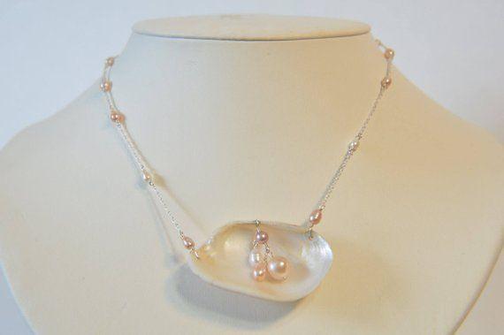 Perle und Muschel Halskette