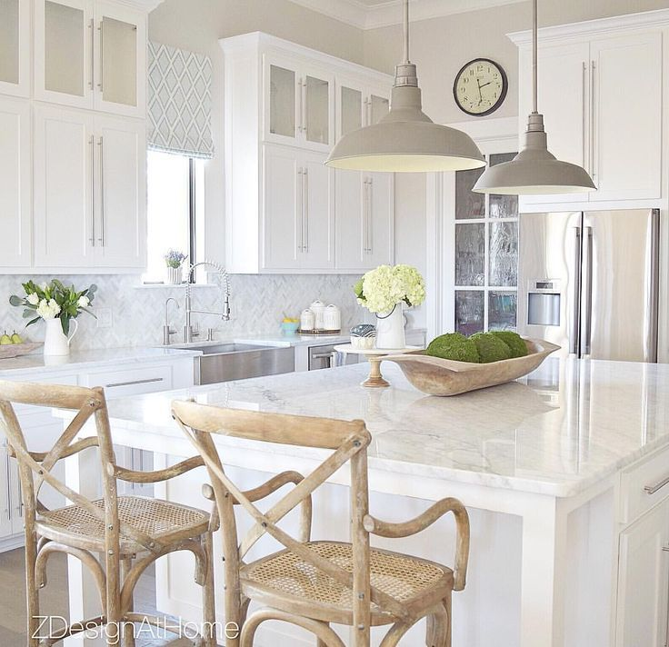 See this Instagram photo by @zdesignathome • 1,869 likes - LOVE THIS FABULOUS KITCHEN WITH OVERSIZED ISLAND & GORGEOUS STOOLS!! - THE LIGHT FITTINGS GIVE A PERFECT FINISH!