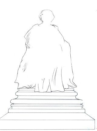 The statue plan, detailing the outline of the statue's shape. [Photo credit: Gravesham Borough Council]