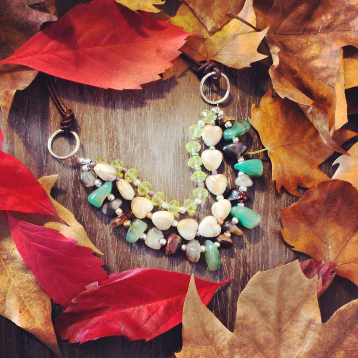 necklace collares fall colors fashion shuuforyou style stones design diy handmade cute beautiful leafs