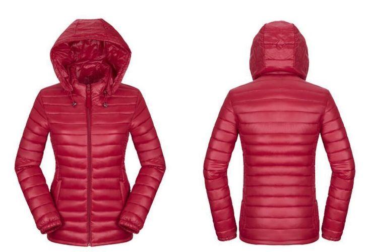 2017 Women Winter Ultra-Thin Hood Slim Down Cotton Jacket Parker Coat