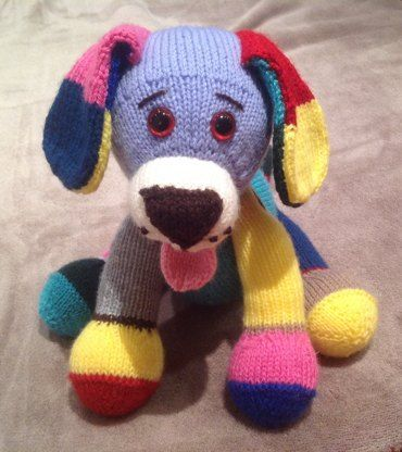 Jacob is a little puppy with a multi-coloured coat. He is completely poseable having legs and head which can be turned into different positions. He is great for using up all those little odds and ends you have left over from other projects - the more colourful the better!He is knitted flat using any DK yarn and on 3mm needles throughout.The pattern is clearly written, easy to follow and has many photos to help you through making him up.