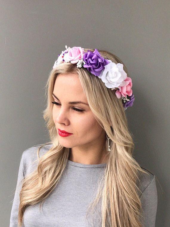 Purple White Flower Crown Wedding Headband Hair