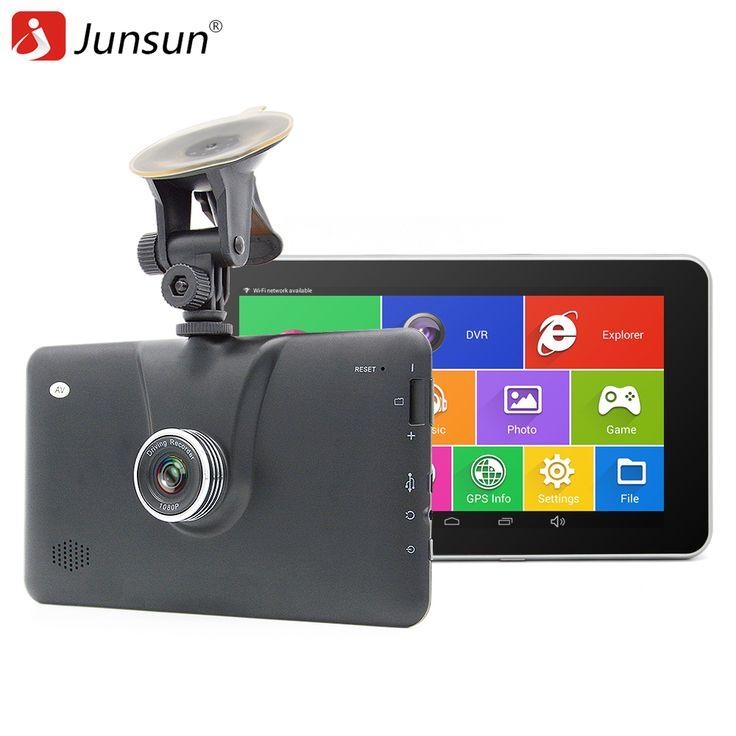 "Junsun 7 ""Mobil DVR GPS navigator Android Kamera FHD 1080 P dvr Perekam gps navigasi lifetime maps Bluetooth MT8127 Quad-Core"