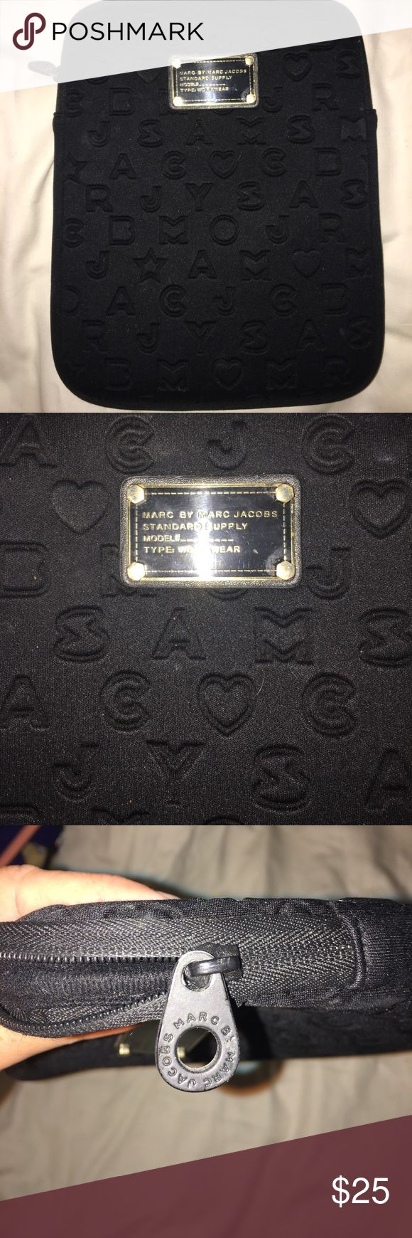 "Marc Jacobs black iPad case Black Marc by Marc Jacobs protective alphabet and hearts iPad case. Approximately 10.5""x 8.5"". Made for larger size iPad but mini fits just fine. Also cute for jewelry, etc. Marc By Marc Jacobs Accessories Tablet Cases"