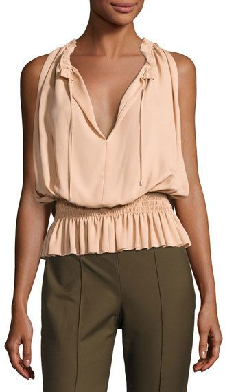 Theory Dezzie Classic Georgette Sleeveless Blouse
